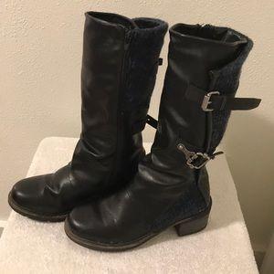 Muk Luks Black 13 inch high Boots Size 6